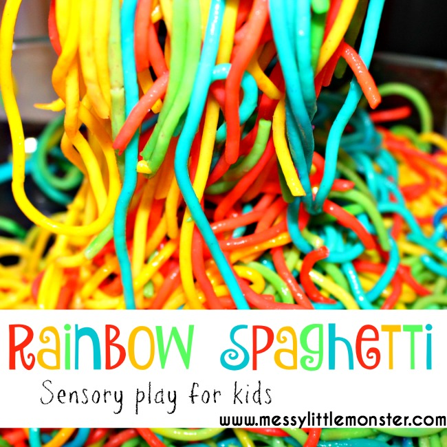 Rainbow activities for kids. How to make rainbow spaghetti. A sensory rainbow play activity for babies, toddlers and preschoolers. Edible/ taste safe play for kids. A book activities to accompany 'A Rainbow of my Own' by Don Freeman.