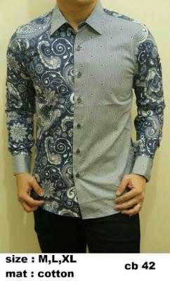 model baju batik pria lengan panjang kombinasi