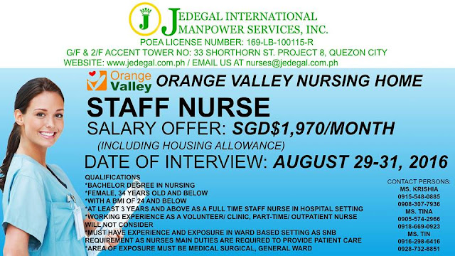 Jedegal International Hiring Staff Nurses For Singapore