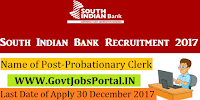 South Indian Bank Recruitment 2017– 468 Probationary Clerk