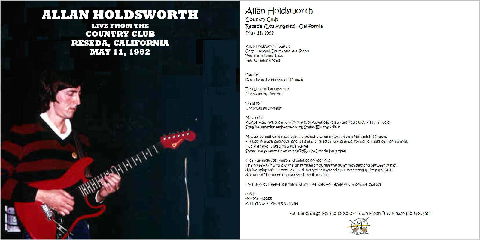 Allan Holdsworth Allan Holdsworth Live At Country Club Reseda La
