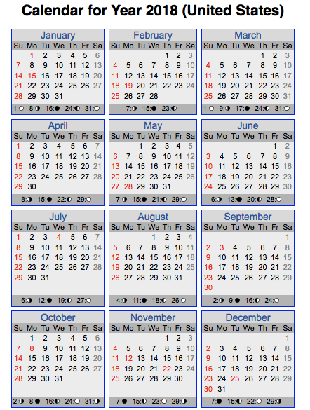 calendar with us holidays 2018