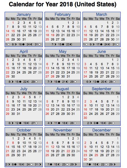 us 2018 calendar
