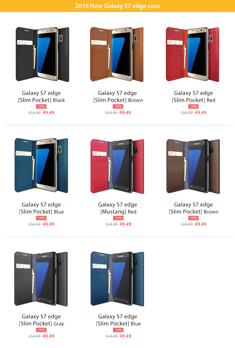 Galaxy S7 edge slim diary and mustang wallet case