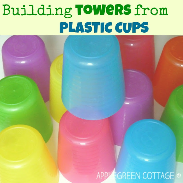 build a tower with plastic cups - kids play activities