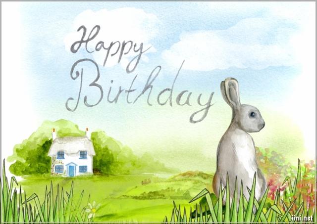 ảnh mừng sinh nhật hình chú thỏ dễ thương