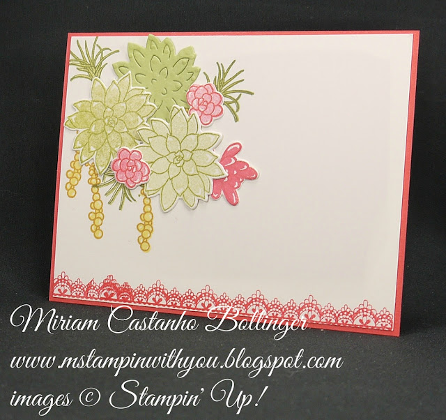 Miriam Castanho-Bollinger, #mstampinwithyou, stampin up, demonstrator, all occasions card, oh so succulent bundle, delicate details stamp set, big shot, su