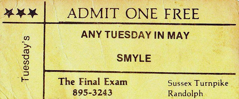 The Final Exam Tuesday free pass for the band SMYLE
