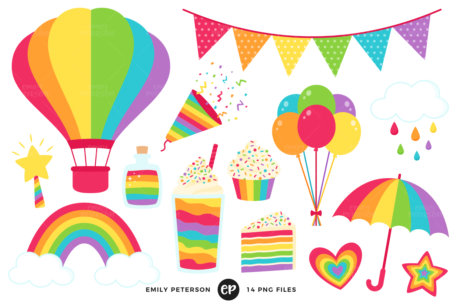 Rainbow Party Clipart, Emily Peterson