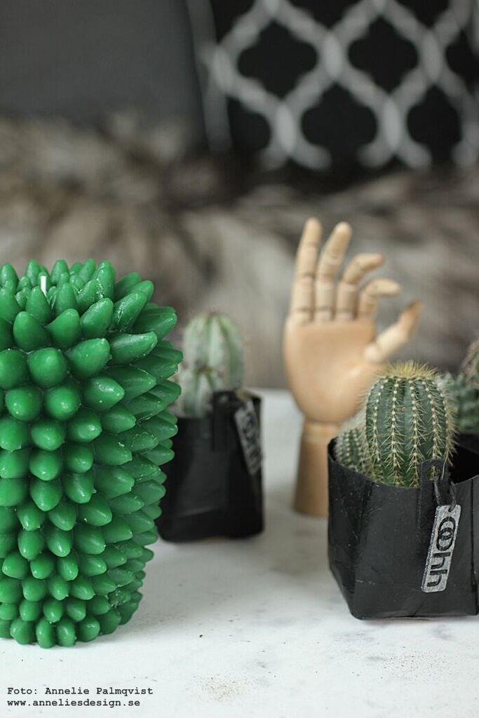 kaktus ljus, stearinljus, kaktusar, Oohh, kruka, krukor, svart, svarta, webbutik, webbutiker, webshop, inredning, annelies design,