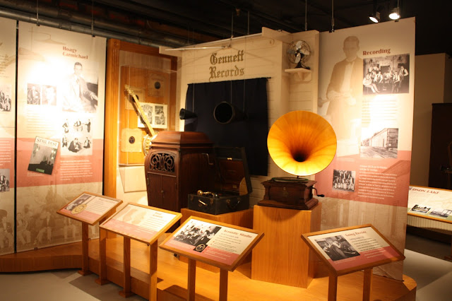 Antique phonographs at Bix Beiderbecke Museum in Davenport, Iowa
