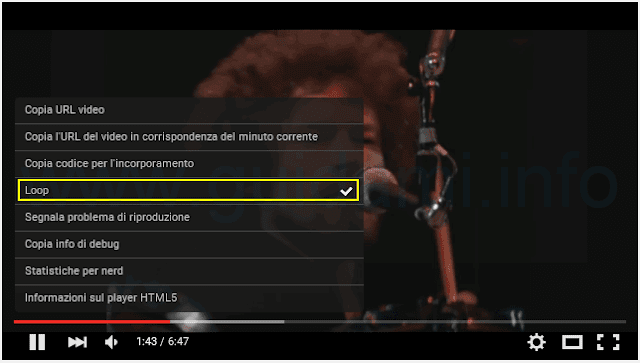 Funzione Loop YouTube per ripetere video all'infinito