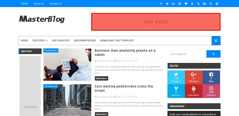 Master Blog Free Blogger Template