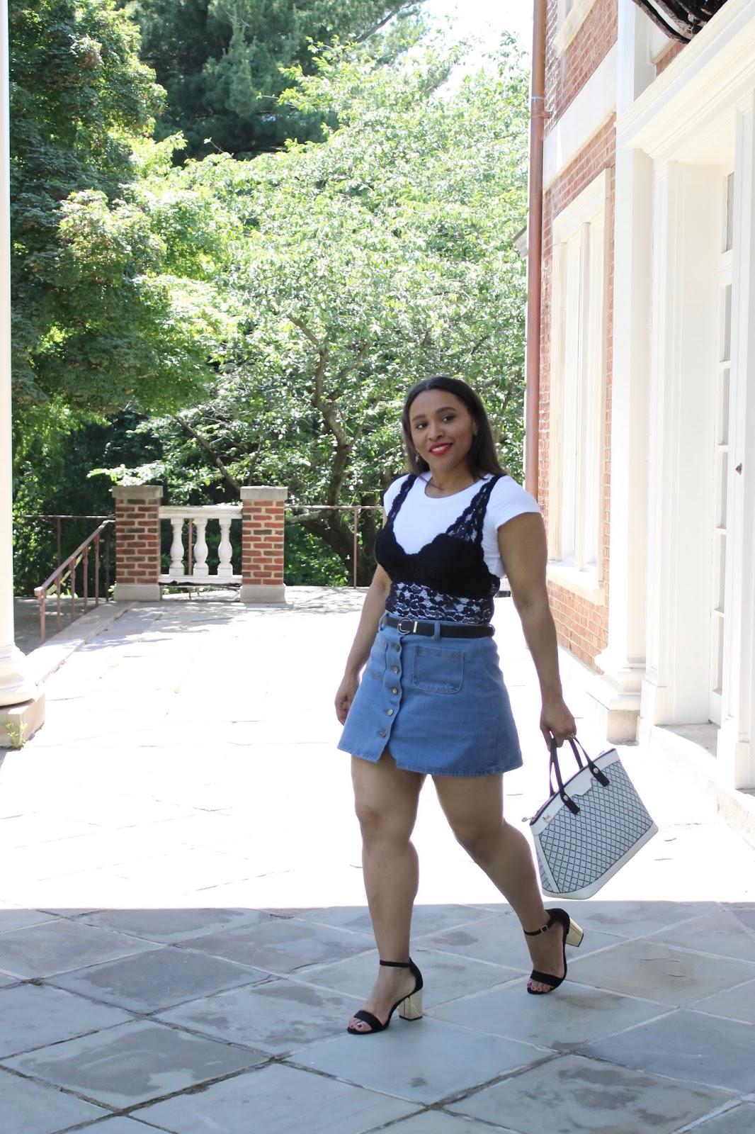 Lace Bralette Over White T-Shirt, bralette trend, bra over shirt, henri bendal bags, summer looks, fashion blogger outfits, mirrored sunglasses