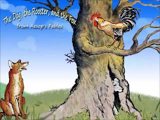 A Dog and a Rooster decided to travel together Contoh Teks Narrative: The Dog The Rooster and The Fox