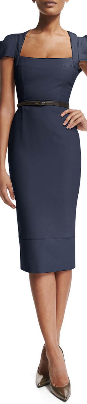 Roland Mouret Galaxy Square-Neck Sheath Dress, Navy