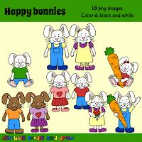 Happy bunny clip art for teachers boy and girl bunnies holding carrots
