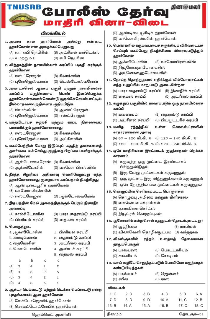 TN Police 2018 (Dinamalr) Download PDF