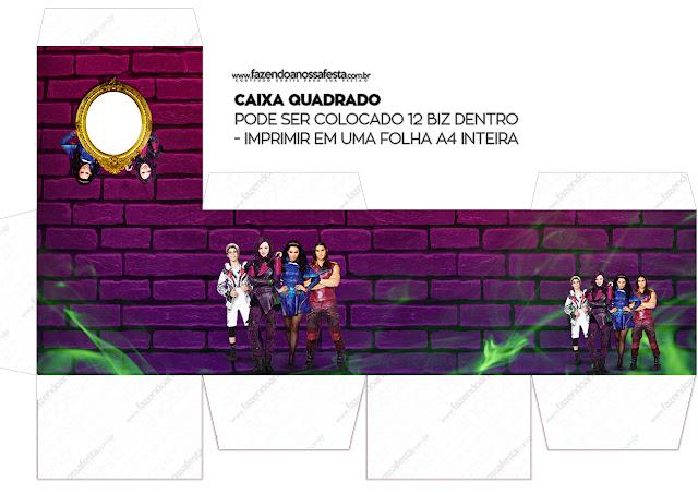 Cajas  Cubo de Fiesta de Descencientes para imprimir gratis.