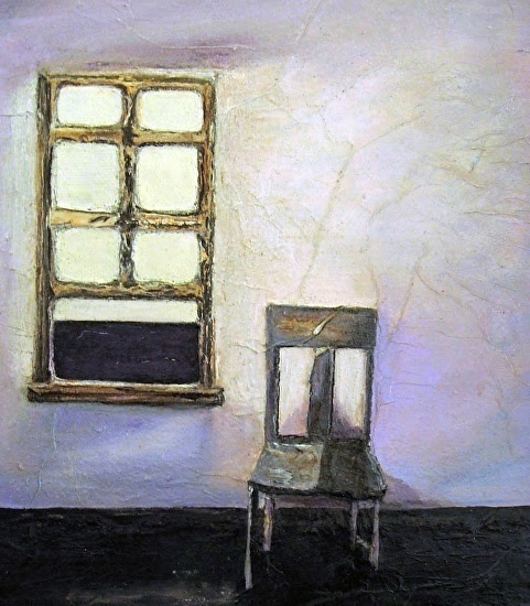 "Mixed Media Painting ""Waiting"" by California Artist Cecelia Catherine Rappaport"