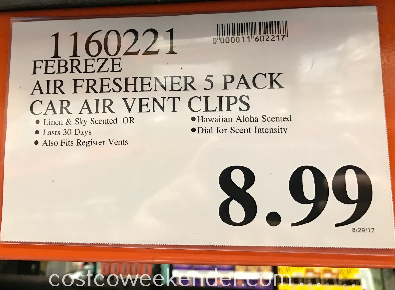 Deal for a 5 pack of Febreze Car Vent Clip Air Fresheners at Costco