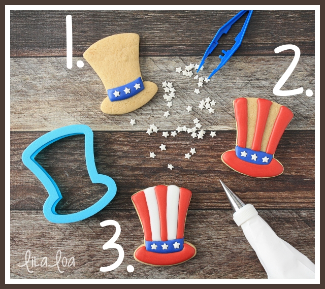 How to decorate patriotic Uncle Sam Hat sugar cookies for Independence Day!