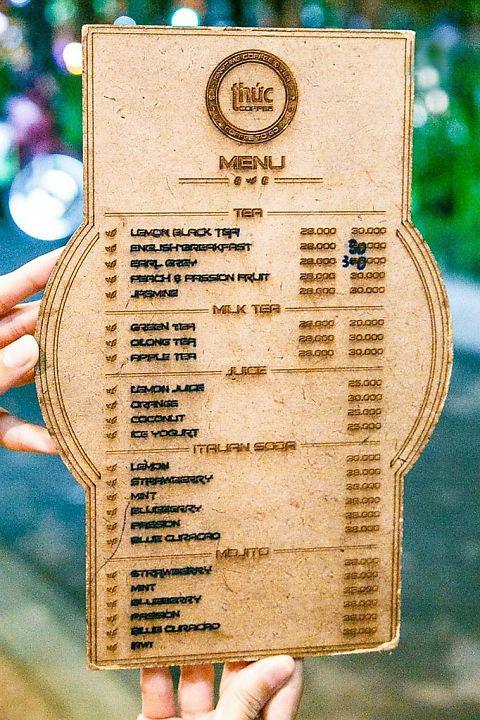 Menu đồ ăn và nước uống tại Thức Coffee