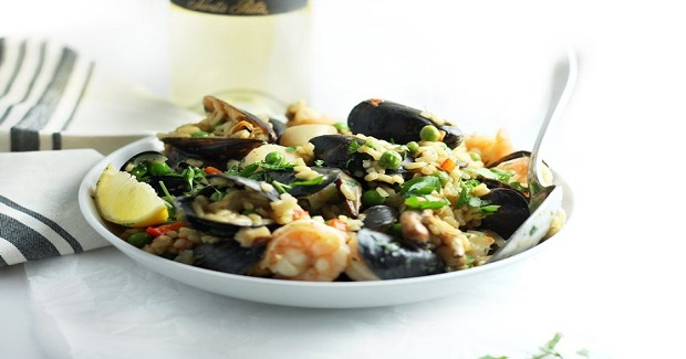 Grilled Summer Seafood Paella Recipe