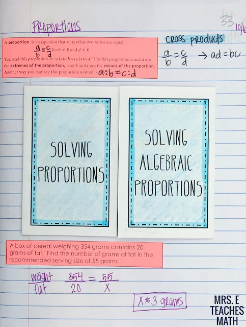 proportions foldable for algebra interactive notebooks