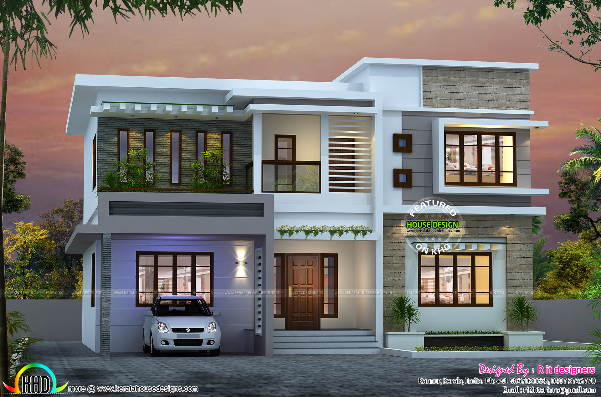Attractive 4 bedroom flat roof house - Kerala home design ...