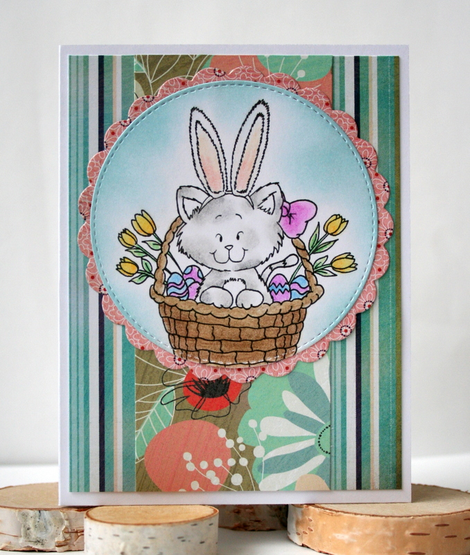 Easter Kitty Card by Jess Moyer featuring Gerda Steiner Designs