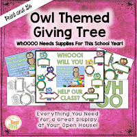 This Owl Themed Giving Tree is perfect to get your supplies for Back-to-School Nite or Open House!