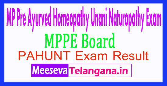 Madhya Pradesh Pre Ayurved Homeopathy Unani Naturopathy Results PAHUNT Result 2017