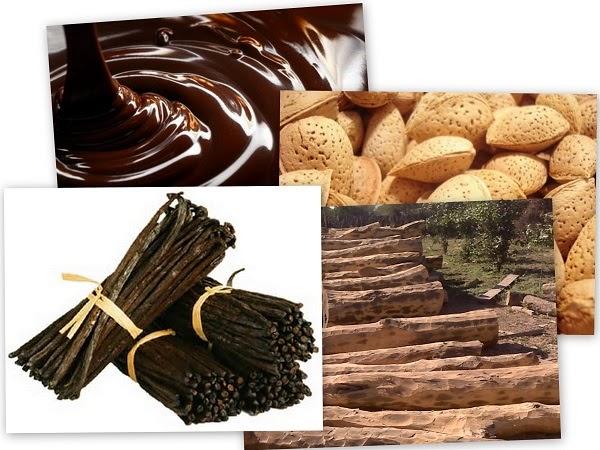 Chocolate, almendras, canela, madera