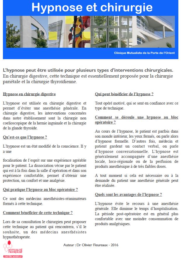 Chirurgie digestive et hepato biliaire hypnose et - Clinique mutualiste de la porte de l orient ...