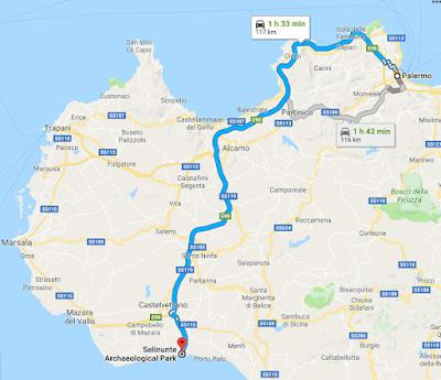 Trayecto de Palermo a Selinunte