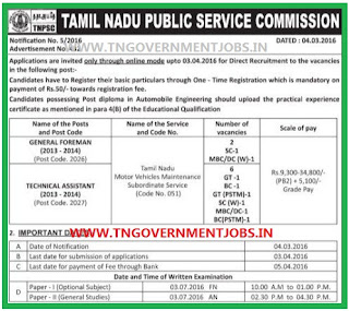 ONLINE applications are invited for General Foreman and Tech Asst in Tamil Nadu Motor Vehicles Maintenance Subordinate Service 2013-2014 Posts through TNPSC