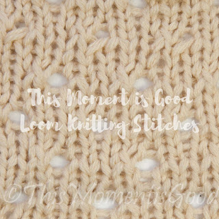 Loom knit staggered eyelet stitch
