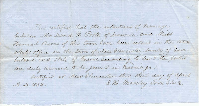 Two 1854 Marriage Intentions between David K. Foster of Danville, Maine, and Miss Hannah Burns of New Gloucester, Maine