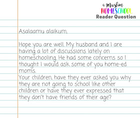 Home School FAQs Reader Questions over on amuslimhomeschool.com - asking about socialisation