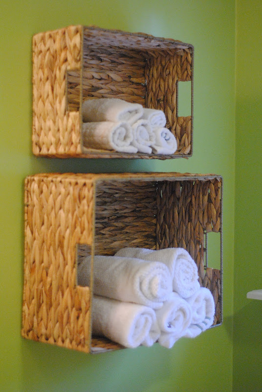 Cheap Dollar Store Baskets Make Attractive--and Extra--Towel Storage