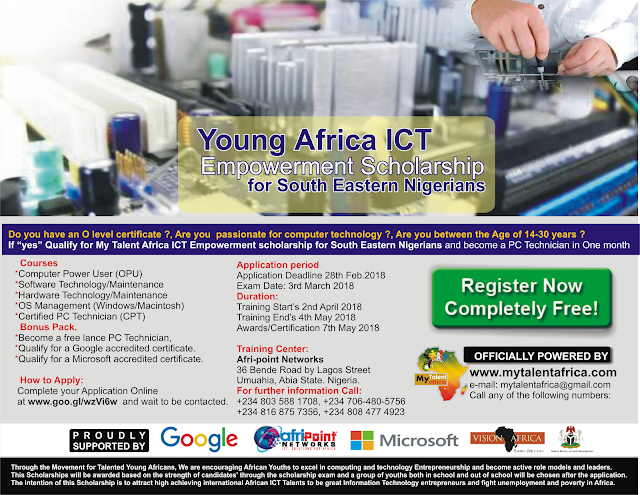 Apply for Young African ICT Empowerment Scholarship for South East Nigerians