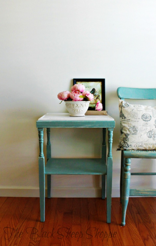 Side table painted in Duck Egg blue and White.