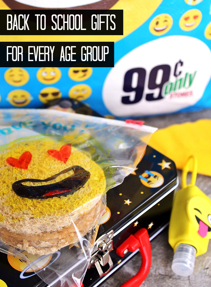 Back To School gift ideas for every age group. Emoji lunch. #DoingThe99 #99YourSchoolYear #AD