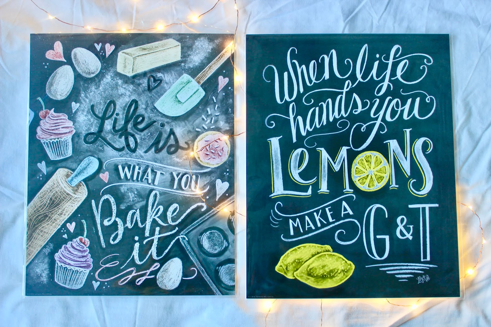 'Life is what you bake it' and 'When life gives you lemons' prints
