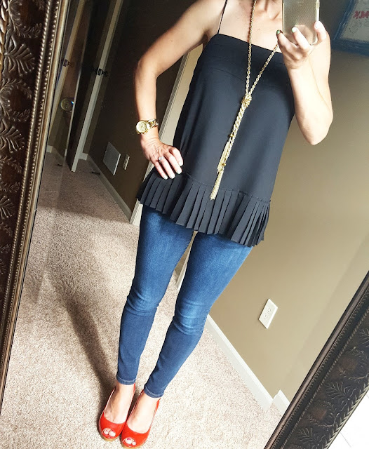 Banana Republic Chiffon Cami - only $15 (reg $60) after sale and online code BRTAKE40 (ends 5/30) // Joes' Jeans Skinny Ankle // Steve Madden Wedges (similar) // Michael Kors Twist Runway Watch //Purple Peridot Tassel Lariat Neclace
