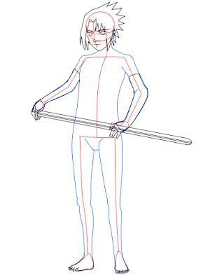 cara menggambar Sasuke Hebi tahap 13