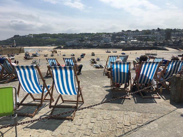 Deck chairs at St Ives Harbour, Cornwall