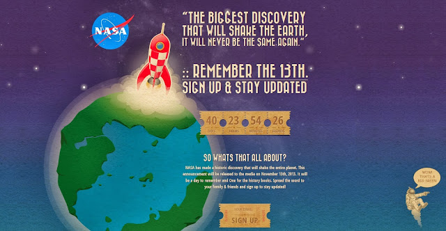 marketing stunt nasa space alien NASA To Have A BIG Announcement On November 13th : Hoax