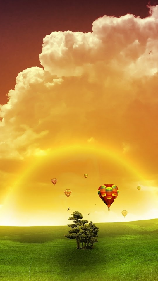 Colorful Balloons Rainbow Clouds Landscape  Galaxy Note HD Wallpaper